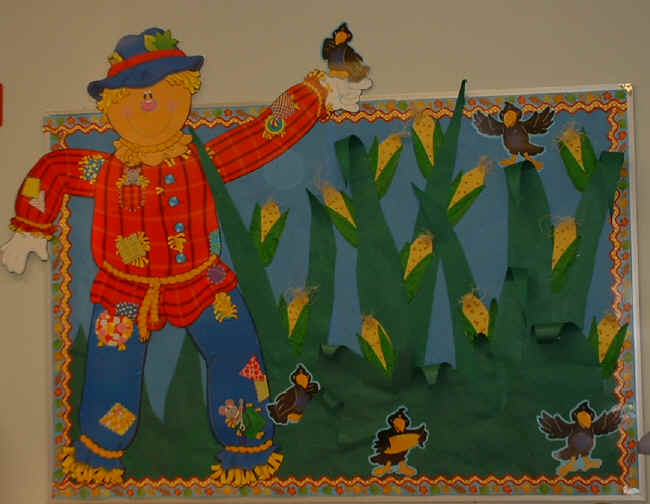 Fall bulletin board ideas for elementary schools for Fall decorating ideas with construction paper