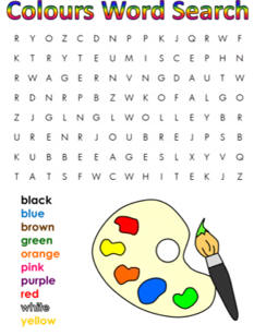 colors word search. Black Bedroom Furniture Sets. Home Design Ideas