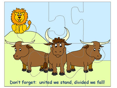 image relating to Aesop's Fables Printable named The Bulls and the Lion Printable Jigsaw Puzzle