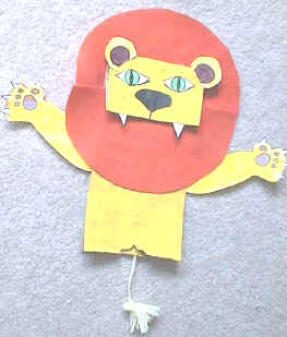 paper bag lion puppet