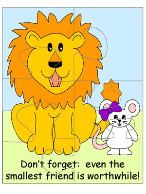 graphic regarding The Lion and the Mouse Story Printable named The Lion and the Mouse Printable Jigsaw Puzzle
