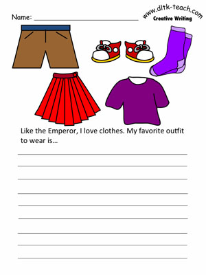 The emperors new clothes writing activities