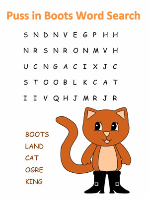 photo relating to Easy Word Search Printable titled Puss inside of Boots Term Appear Puzzles