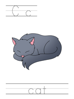 Printable print practice worksheet - Cc cat