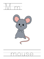 Printable print practice worksheet - Mm mouse