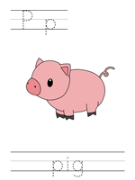Printable print practice worksheet - Pp pig