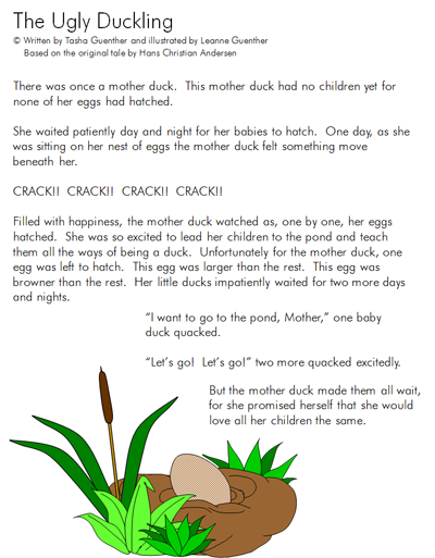 the ugly duckling book report The ugly duckling age range: 4 - 8 years grade level: preschool and up board book: 18 pages publisher: parragon books language: english all material is owned by.