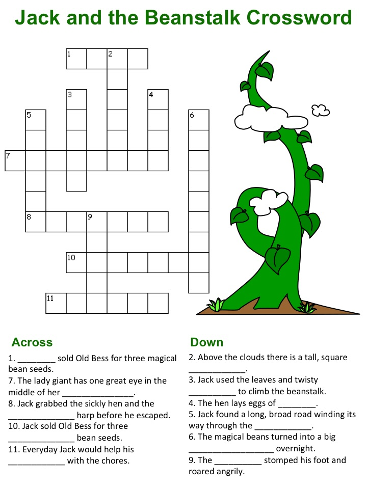 photo about Simple Crossword Puzzles Printable named Jack and the Beanstalk Crossword Puzzles