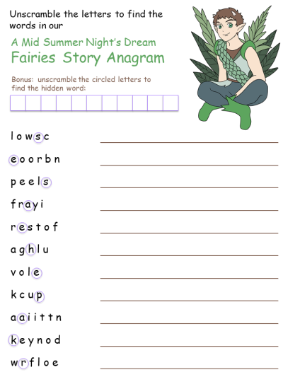 Mid Summer Fairies Anagram Puzzle