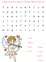 Word Search Puzzles for midsummer night's dream
