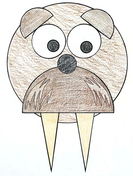 Walrus Shapes Practice Craft